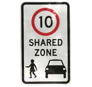 10km Shared Zone Sign (450mm x 750mm) - Class 1 Reflective Aluminium