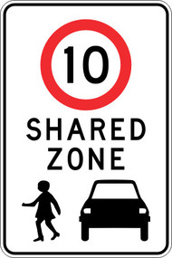 10km Shared Zone Sign (750x450MM) - Class 1 Reflective Aluminium