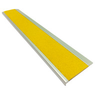 Aluminium Stair Nosing w/ Yellow Tough Fibreglass Anti Slip Insert 75MMx10MM - Per Metre