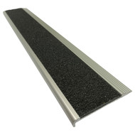 Aluminium Stair Nosing w/ Black Tough Fibreglass Anti Slip Insert 75MMx10MM - Per Metre