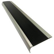 Aluminium w/ Black Rubber Insert 75MMx30MM Stair Nosing - Per Metre