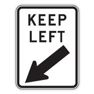 Keep Left Sign (600x450MM) - Class 2 Reflective Aluminium