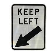 Keep Left Sign (450mm x 600mm) - Class 2 Reflective Aluminium