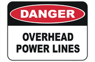 "Danger Sign ""OVERHEAD POWER LINES"" (450x600MM) - Metal"
