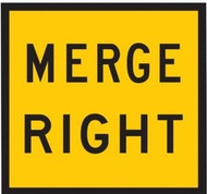 Merge Right Sign (600x600MM) - Corflute