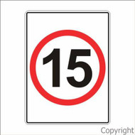 15km Speed Restriction Sign (600MMx450MM) - Class 2 Reflective Aluminium
