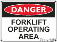 "Danger Sign ""FORKLIFT OPERATING AREA"" (450MMx600MM) - Metal"