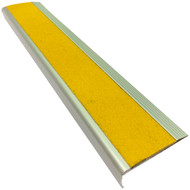 Aluminium Stair Nosing w/ Yellow Tough Fibreglass Anti Slip Insert 75MMx30MM - Per Metre