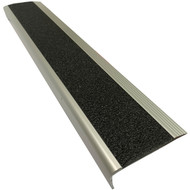 Aluminium Stair Nosing w/ Black Tough Fibreglass Anti Slip Insert 75MMx30MM - Per Metre