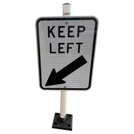 Keep Left Sign Kit with Flexible Sign Post and Brackets