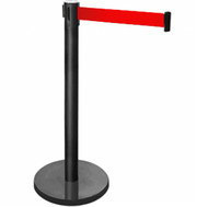 Retractable Belt Queue Bollard Matte Black Pole and Base with Red Belt