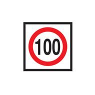 100km Speed Restriction Sign (600mmx600mm) - Corflute