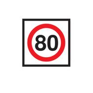 80km Speed Restriction Sign (600mmx600mm) - Corflute