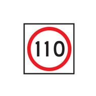 110km Speed Restriction Sign (600mmx600mm) - Corflute