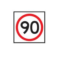 90km Speed Restriction Sign (600mmx600mm) - Corflute