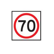 70km Speed Restriction Sign (600mmx600mm) - Corflute