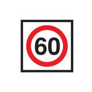 60km Speed Restriction Sign (600mmx600mm) - Corflute