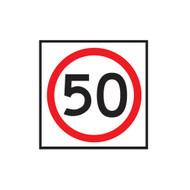 50km Speed Restriction Sign (600mmx600mm) - Corflute