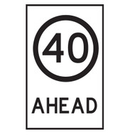 40KM Speed Restriction  Ahead Sign - (600mmx900mm) - Corflute