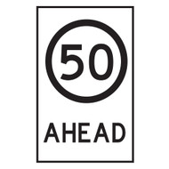 50KM Speed Restriction  Ahead Sign - (600mmx900mm) - Corflute
