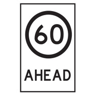 60KM Speed Restriction  Ahead Sign - (600mmx900mm) - Corflute