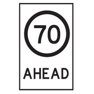 70KM Speed Restriction Ahead Sign - (600mmx900mm) - Corflute