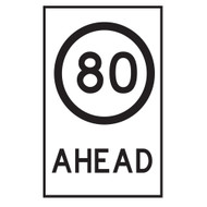 80KM Speed Restriction Ahead Sign - (600mmx900mm) - Corflute