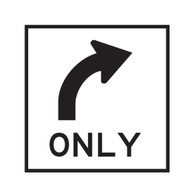 All Traffic Turn Right Only Sign -  (600mmx600mm) - Corflute