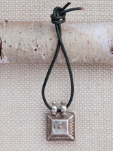 Square Silver Tribal Pendant