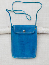 Turquoise Leather Travel Pouch