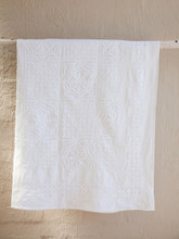 White Applique Square Layout Bedspread