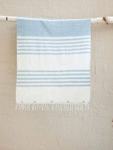 Hand woven Teal Stripe Morning Scarf