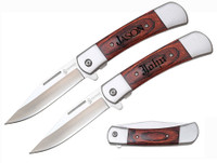 Engraved Rosewood Deco Grip Lockback Pocket Knife