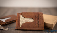 Engrave with your own message. This Minimalist money clip is made in the USA.   Fonts Shown: Georgia & Good Vibrations