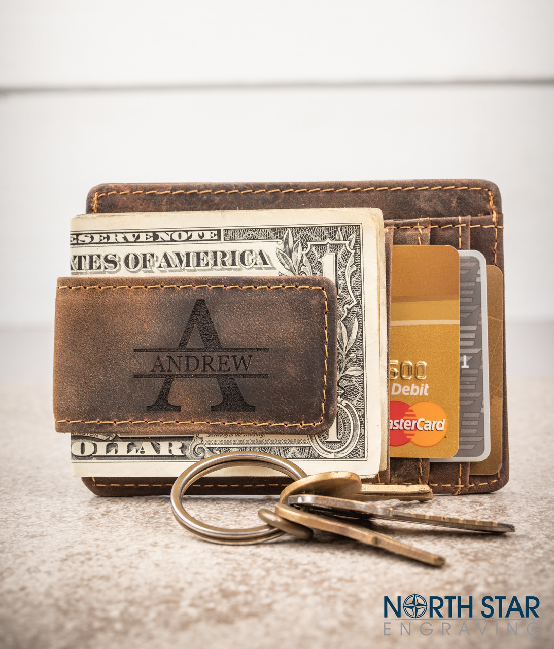 e6698d933a9750 Personalized Mens Genuine Leather Money Clip with ID Pocket. Large initial  with name through the center (Best in Georgia font or any of the