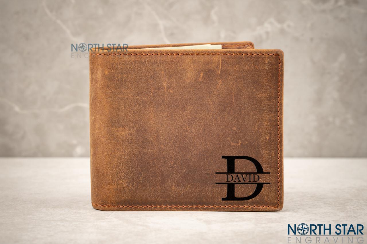 Personalised Initials Gents Men/'s Black Wallet