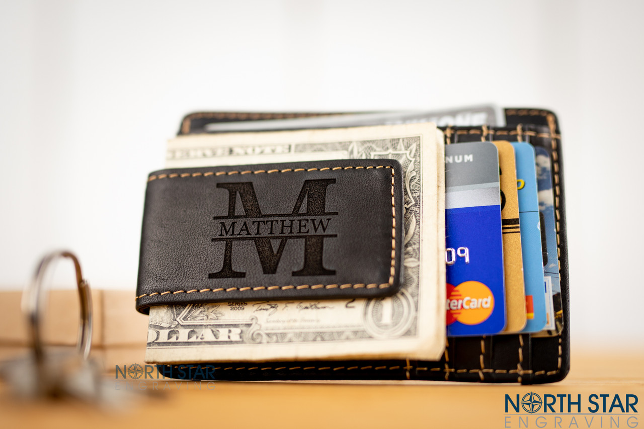 f3154e285143dd Mens Black Leather Money Clip with ID - Personalized Wallet. Large initial  with a name through the center (Best in Georgia font when using the
