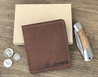 Personalized Mens Genuine Leather Wallet with ID pocket
