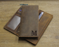 Mens Long Slim Leather Wallet - Personalized Mens Wallet