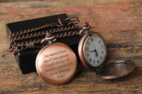 Red Copper Mens Pocket Watch with Chain