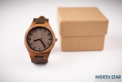 Mens wooden watch, Dark Brown Leather Strap.