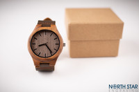 Mens wooden watch, Dark Brown Leather Strap.