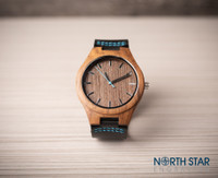 Wooden Watch, Black Leather with Blue Stitching