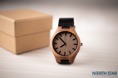 Wooden Black Leather watch