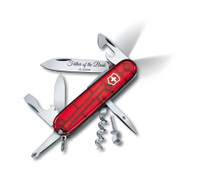 Spartan Lite Ruby Red Swiss Army Knife - Multi Function tool with LED flashlight