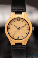 Wooden watches for men - Engraved Leather wrist watch