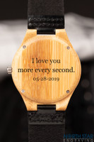 Wooden watches for men - Black Genuine Leather watch
