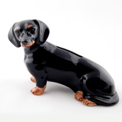 Dachshund Money Box black/tan