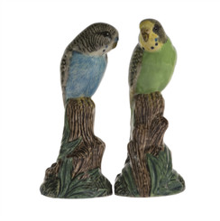 Pair of Budgerigar Figures blue/green