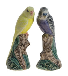 Pair of Budgerigar Figures violet/yellow